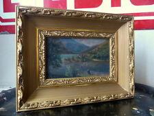 Superbe paysage pêcheur du lac huile sur carton signé daté 1905 cadre brois doré