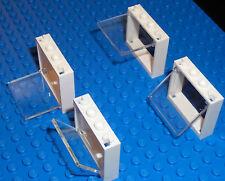 NEW LEGO BRICKS 4 x WHITE WINDOWS WITH CLEAR GLASS 1x4x3 - FRIENDS POLICE TOWN