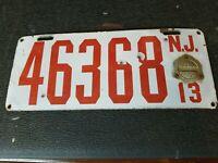 Vintage 1913 New Jersey Porcelain License Plate 46368 Antique License Plate
