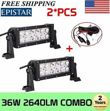2X 8INCH 36W LED Work Light Bar Combo Offroad SUV Boat Driving Lamp+Wiring kit