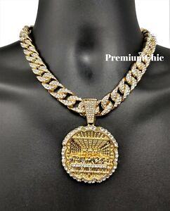 XL Last Supper Pendant Iced Cuban/Rope CZ Necklace Chain Mens Hip Hop Jewelry