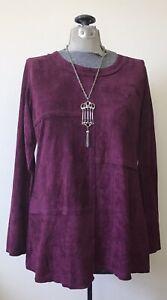 Gorgeous Ethyl Clothing Velour Tunic with Asymmetric Hem Wine Size S NWT