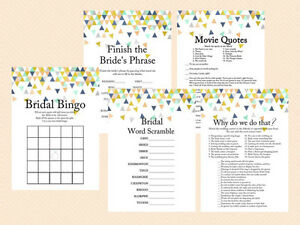 Print Yourself Coral & Mint Geometric Bridal Shower Game Pack Printable bs58
