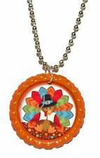 ORANGE THANKSGIVING TURKEY BOTTLE CAP NECKLACE (CAP069a)