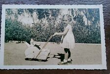 YOUNG GIRL WITH DOLL IN ART DECO STYLE PRAM POSTCARD