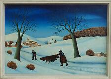 Robert Broussolle WINTERLANDSCHAFT Naive Kunst aus Frankreich, Gemälde um 1980