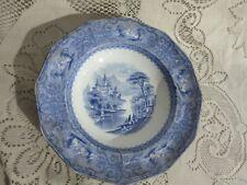 "Vintage Monterey Joseph Heath Transferware Large Blue White Rimmed Bowl 9.5"""