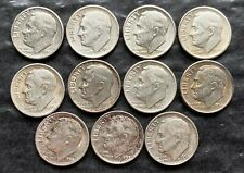 Lot of 11x USA Roosevelt Silver 10 Cent Dimes - Dates: 1946 to 1958