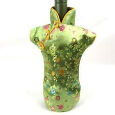 Oriental Chinese Dress Green Floral Wine Bottle Cover Decor