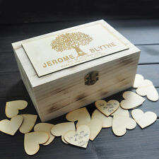 Personalized Wedding Guest Book Rustic Custom Wooden Box With 100 Pcs Hearts