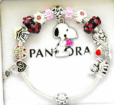PANDORA Silver Bracelet  Pink Black Snoopy Dog European Charms