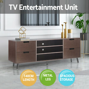 TV Entertainment Stand 3 Open Shelf 4 Drawers Storage Unit Cable Hole Dark Brown