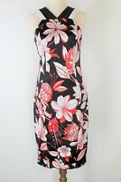 Cue black red & white print sleeveless mid1 pencil dress AS NEW-  6 FREE POST