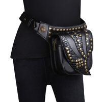 Steampunk Leather Leaf Vintage Gothic Shoulder Waist Crossbody Rave Hip Punk Bag