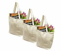 Earthwise Reusable Grocery Bags X-Large 100% Cotton Canvas Shopping Beach (3pc)