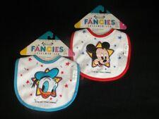 Fancies Designer Baby Bibs Mickey Donald Vtg 1991 Playskool Lot of 2 Disney