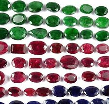 700 Carats Natural Green Emerald, Red Ruby & Blue Sapphire Mix Gems Lot 66 Pcs