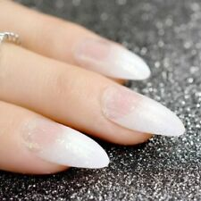Stiletto false nails coffin false nails White Clear French Nail Glitter acrylic