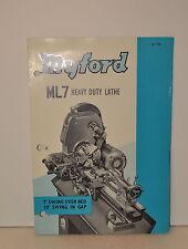 MYFORD ML7 HEAVY DUTY LATHE CATALOG Nr. 733A (JRW #012)