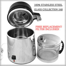 New Stainless Steel Water Distiller w/ Glass Collection Jar FREE 2nd Filter