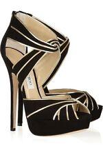 "JIMMY CHOO ""KOKO"" or Noir En Daim Talons Aiguilles Bout Ouvert Chaussures Taille EU 40 UK 7"