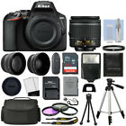 Nikon D3500 Digital SLR Camera Black + 3 Lens: 18-55mm VR Lens + 32GB Bundle