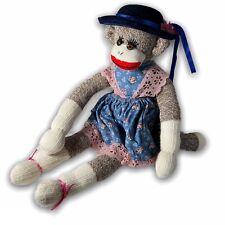 """Plushland Sock Monkey Blue Dress with Hat 21"""" Plush Stuffed Animal"""