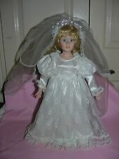 """Vintage 17"""" Porcelain Blonde Doll Bride in Wedding Gown With Stand"""