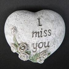 """Grabschmuck kleines Herz mit Aufschrift """"I miss you"""" Grabherz Grabdeko 6cm Stein"""