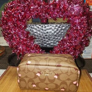 Coach Small Boxy Cosmetic Case Signature Canvas w/Heart Floral Print NWT $128