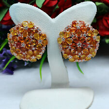 NATURAL HEATED ORANGE WITH YELLOW SAPPHIRE & WHITE TOPAZ EARRINGS 925 SILVER