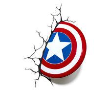 Marvel Avengers LED 3d Wall Night Light Deco Super Heroes Captain America Shield
