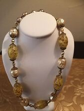 Vintage Venetian Sommerso Glass Bead Art Deco Faux Baroque Pearl Hook Necklace