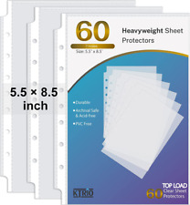 Sheet Protectors 55x85 Inch For Small Binders 7 Hole 60 Pack Mini Clear Page