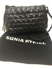 BNWT Sonia Rykiel Alban Bandolera Bolso, con tachas Solapa. Negro Diamante Acolchado. £ 285.
