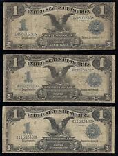 $1.00 Black Eagle Silver Certificates, Series 1899, 5 pc. Lot, Different FR#'s!