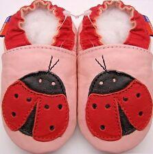 Minishoezoo ladybug pink 3-4 Toddler  soft sole leather shoes free shipping