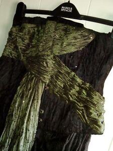"""Lace-up corset long with split-front train waist 30""""-33"""" burlesque black velvet"""