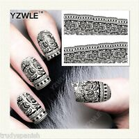 Full Wrap Water Transfers Nail Art Stickers Decals Black Lace Flowers (b326)