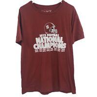 Alabama Crimson Roll Tide Mens L Large Red Shirt 2015 National Champions NCAAF