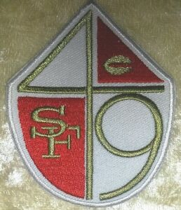 """San Francisco 49ers Shield 3.5"""" Iron On Embroidered Patch ~FREE Ship"""