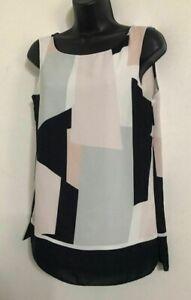 NEW ex WALLIS Square Block Print Navy White Chiffon Layered Vest Blouse Top 8-20