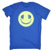 Funny Novelty T-Shirt Mens tee TShirt Headphone Smile Glow In The Dark