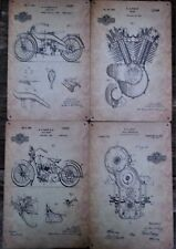 4 X MOTORCYCLE PATENT SCHEMATIC METAL TIN SIGNS vintage cafe pub bar garage