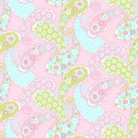 Fabric Baby Paisley Calico Floral Flowers on Pink Flannel 3 Yards