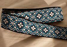 VTG 60-70s Trim 4+ Yards Celtic Woven fabric Blue White Black Geometric Flower
