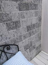 """Hellgrau-weiße,dekorative """"Mauer-steine""""-TAPETE,für Puppenstube,30cmx53"""