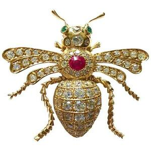 Antique 5.0 Carats Diamond Ruby Emerald Gold Insect Pin