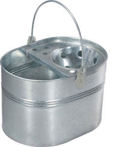 Mop Bucket Galvanised Metal Heavy Duty Cleaning Home Basket Strong Handle