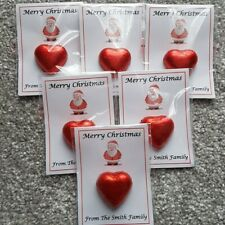 Personalised Christmas Favours Chocolate Heart Pouches (240)Xmas Santa filler
